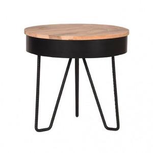 Masuta maro/neagra din lemn si metal 44 cm Saran LABEL51