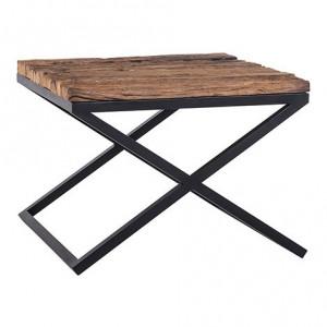 Masuta maro/neagra din lemn si otel 60x60 cm Industrial Kensington Richmond Interiors
