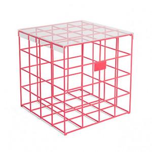 Masuta rosie din sticla si fier 41x41 cm Cage Fight Bold Monkey