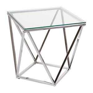 Masuta transparenta/argintie din sticla si inox 50x50 cm Pris Santiago Pons