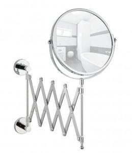 Oglinda cosmetica argintie pentru perete din otel 18,5x35,5 cm Elegance Power-Lock Wenko