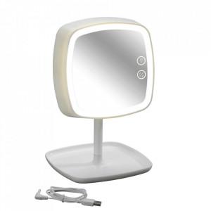 Oglinda cosmetica de masa cu LED patrata alba din plastic 19x29 cm Ostia Wenko