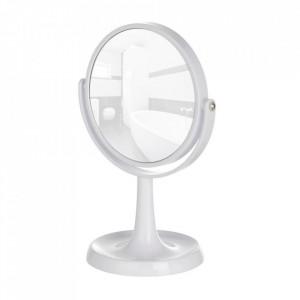 Oglinda cosmetica de masa rotunda alba din plastic 19x28 cm Rosolina Wenko