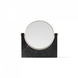 Oglinda cosmetica neagra/aurie din marmura si alama 25x26 cm Pepe Menu