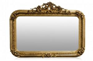 Oglinda dreptunghiulara aurie cu rama din lemn 142x100 cm Baroque Versmissen