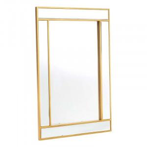 Oglinda dreptunghiulara cu rama aurie din lemn 90x60 cm Gold Ixia