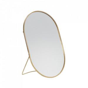 Oglinda ovala de masa din alama 16x25 cm Lynch Hubsch