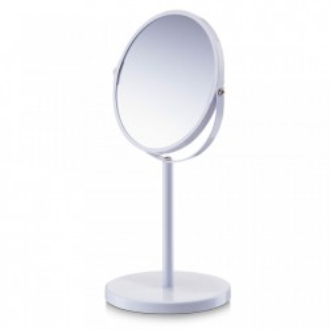 Oglinda rotunda de masa alba din metal 15x35 cm Make-Up White Zeller