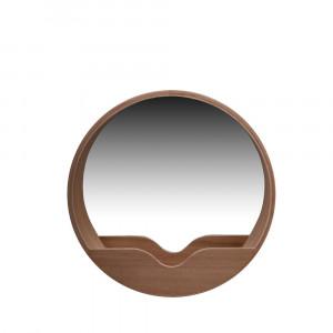 Oglinda rotunda din lemn stejar 40 cm Zuiver