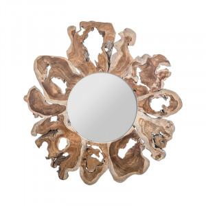 Oglinda rotunda maro din lemn 105 cm Varverg Vical Home