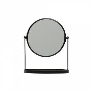 Oglinda rotunda neagra de masa din fier 19x24 cm Yentl Black Woood