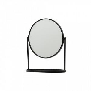 Oglinda rotunda neagra de masa din fier 25x32 cm Yentl Black Woood