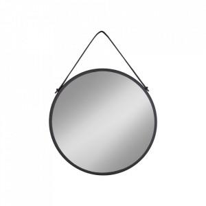 Oglinda rotunda neagra din otel 38 cm Trapani House Nordic