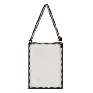 Oglinda suspendabila neagra din fier si sticla 15x20 cm Ribbon Madam Stoltz