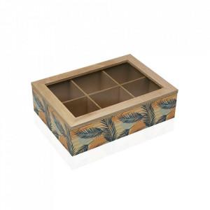 Organizator cu capac multicolor din lemn Saona Teabox Versa Home