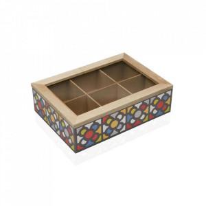 Organizator cu capac multicolor din lemn Urbana Teabox Versa Home