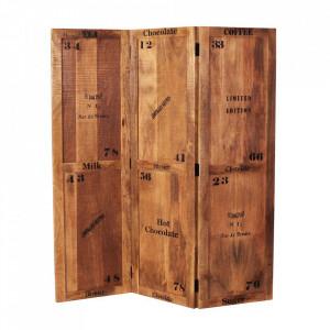 Paravan maro din lemn de mango 170 cm Rustic Sit Moebel