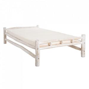 Pat alb din lemn de tec 105x215 cm Birriwa Denzzo