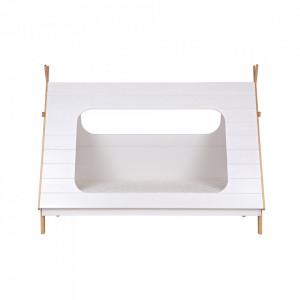Pat alb din lemn si MDF 106x215 cm Tipi Woood