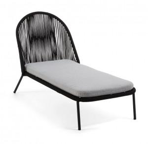 Pat de zi negru din otel si poliester pentru exterior 66x150 cm Stad Black La Forma