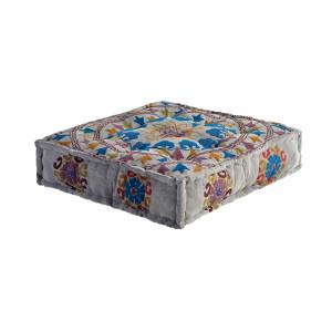 Perna de podea patrata multicolora din bumbac 80x80 cm Vika Giner y Colomer