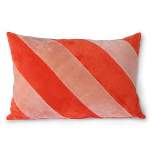 Perna decorativa dreptunghiulara rosie/roz din catifea 40x60 cm Giro HK Living