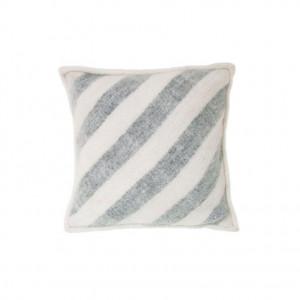 Perna decorativa patrata alba/gri din lana 50x50 cm Wool Stripes HK Living
