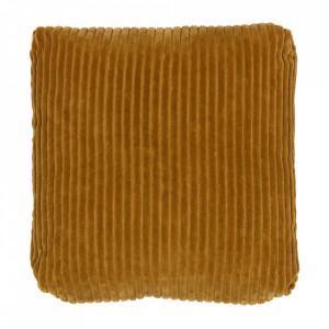 Perna decorativa patrata galben mustar din catifea 45x45 cm Edge Be Pure Home