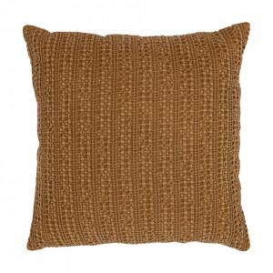 Perna decorativa patrata maro din bumbac 45x45 cm Grainy Be Pure Home