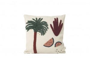 Perna decorativa patrata multicolora din bumbac si panza 40x40 cm Palm Ferm Living
