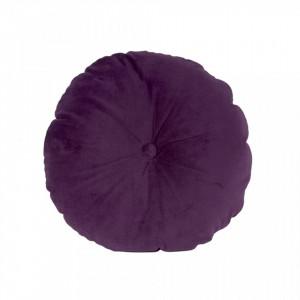 Perna decorativa rotunda mov din catifea 45 cm Luxurious Round Present Time