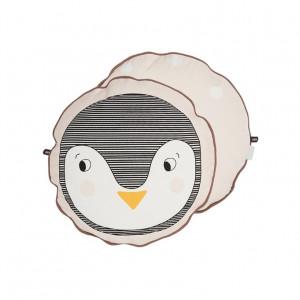 Perna decorativa rotunda multicolora din bumbac 38 cm Penguin Oyoy