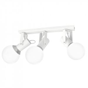 Plafoniera alba/argintie din metal si sticla Auris Milagro Lighting
