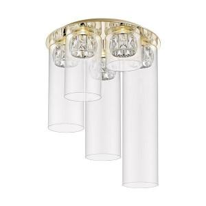 Plafoniera aurie/transparenta din metal si sticla cu 5 LED-uri Gem Zuma Line