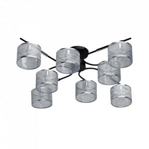 Plafoniera neagra/argintie din textil si metal cu 8 becuri Conrad MW Glasberg