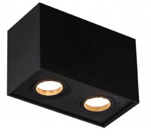Plafoniera neagra din metal cu 2 becuri Basic Square Two Black Maxlight