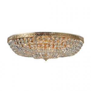 Plafoniera transparenta/aurie din cristal si metal cu 12 becuri Vanadis Gold Markslojd