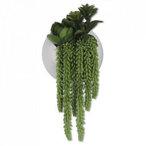 Planta artificiala verde/alba din plastic si ceramica 28 cm Succulents Opjet Paris