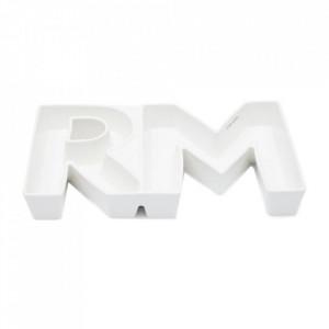 Platou alb din portelan 18x39 cm Senzi Riviera Maison