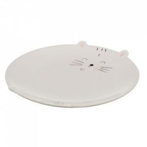 Platou alb din portelan 21 cm Kitty Unimasa