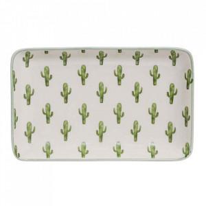 Platou alb/verde din ceramica 12x19 cm Jade Bloomingville