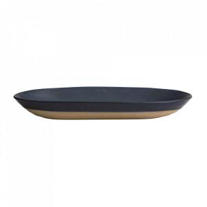 Platou albastru inchis din ceramica 20x39 cm Grainy Nordal
