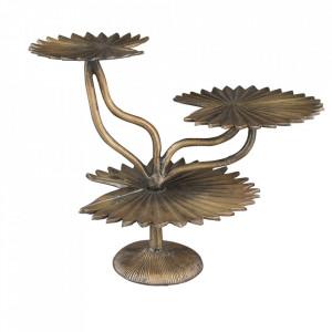Platou cu picior auriu din aluminiu 33x52 cm Leela Dutchbone