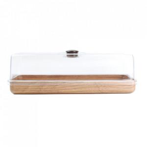 Platou maro/transparent cu capac din plastic si polistiren 16,5x39 cm Buffet Aerts