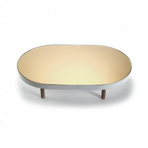 Platou oval alb din sticla si lemn 41x67 cm Moon Serax