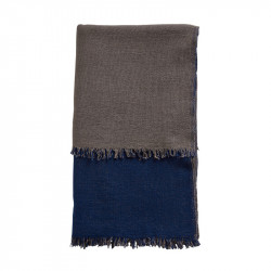 Pled albastru/bej din lana 130x180 cm Double Woud