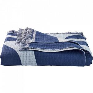 Pled albastru din bumbac si lana 130x170 cm Bota Bolia