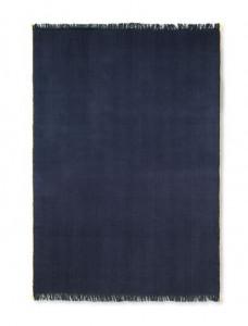 Pled albastru inchis din lana si bumbac 120x180 cm Herringbone Ferm Living