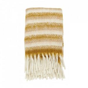 Pled galben/alb din fibre acrilice si lana 130x170 cm Mohair Look Nordal
