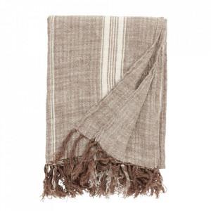Pled maro/alb din bumbac 130x160 cm Blanket Brown Nordal